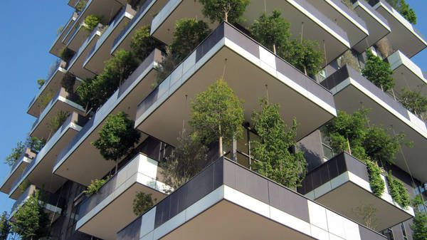 Complete façade greening for high-rise apartment building in Milan by Boeri Studio, construction works in summer 2013 with façade greenery