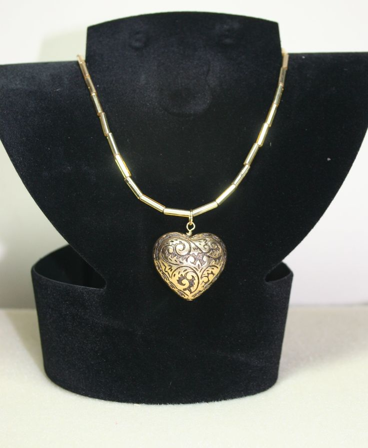 Gold heart pendant necklace with gold bugle bead chain  €10.00  www.facebook.com/Supposejewellery