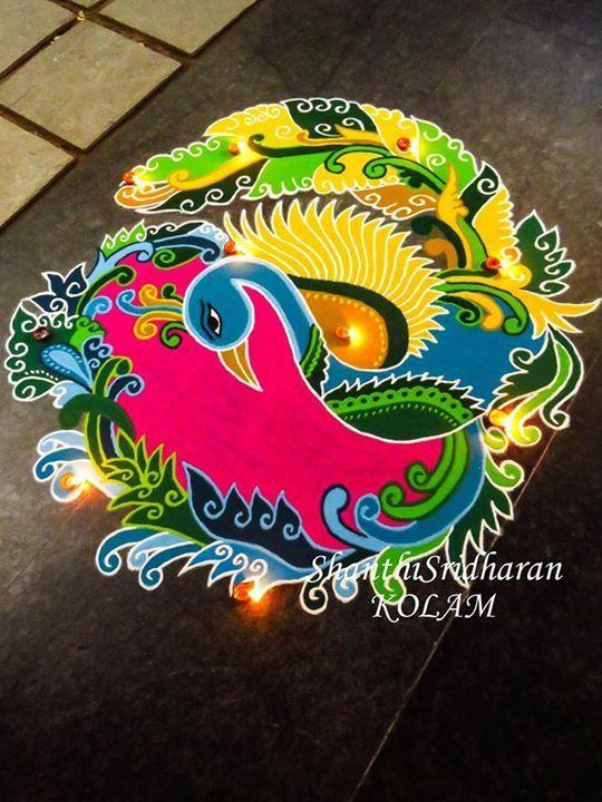 #peacock#swan#round#yellow#pink#green#blue#kolam#rangoli