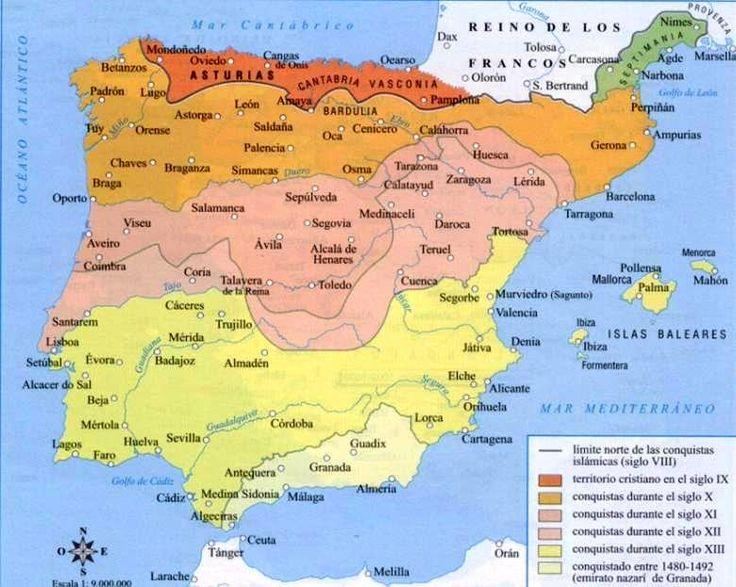 Mapa de la Reconquista cristiana