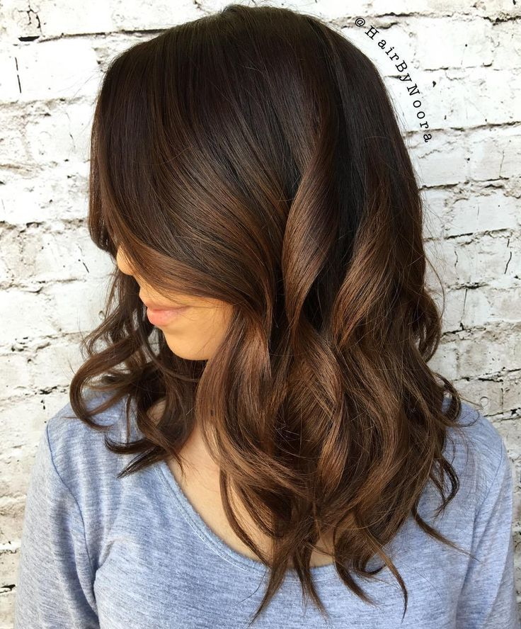 Brunette Ombre Hair - chocolate hair and cinnamon brown (tones) highlights (bayalage/low lights)