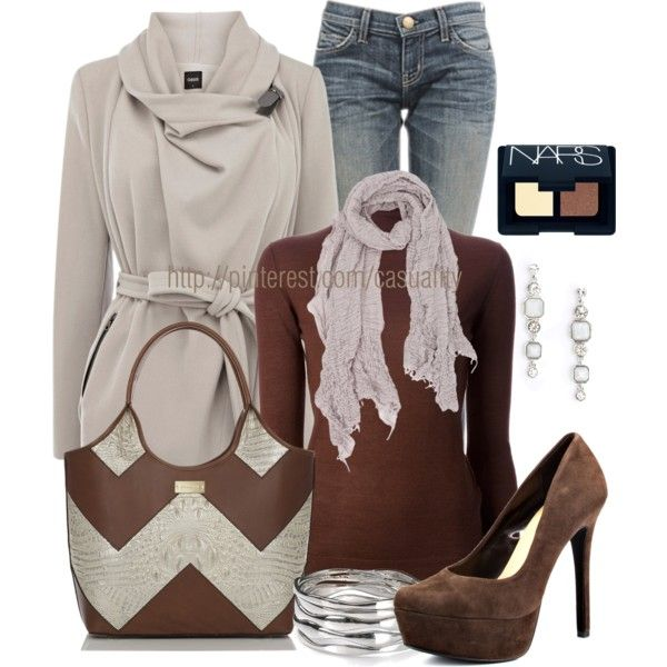 """""""Chevron Bag & Brown Suede Pumps"""" by casuality on Polyvore"""