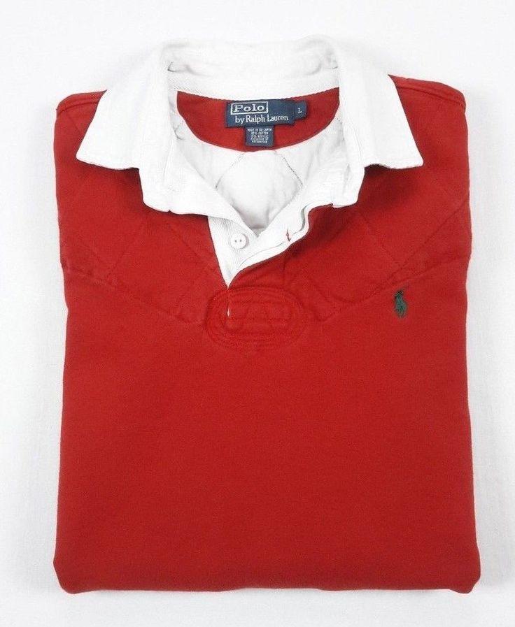Polo Ralph Lauren Mens Red Rugby Jersey Fleece Sweatshirt Large #PoloRalphLauren #PoloRugby