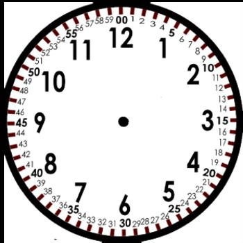 Free Blank Clock Template--Blog post discusses teaching time to the minute.