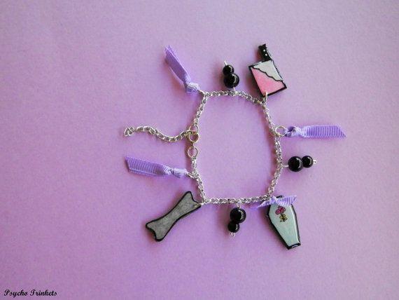Psychobilly/gothabilly charm bracelet by PsychoTrinkets on Etsy
