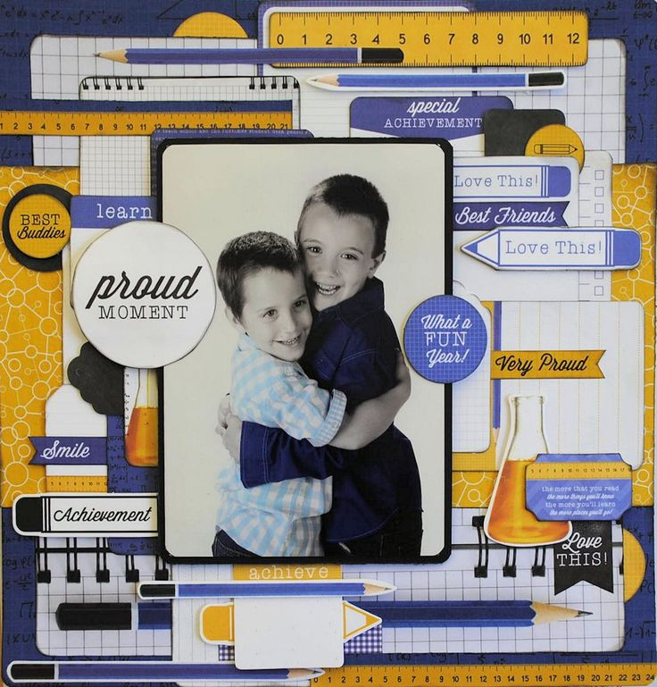 """""""Two Young Men"""" Layout by Alison Bevis for Kaisercraft """"2 Cool 4 School"""" collection ~ Scrapbook Pages 3."""
