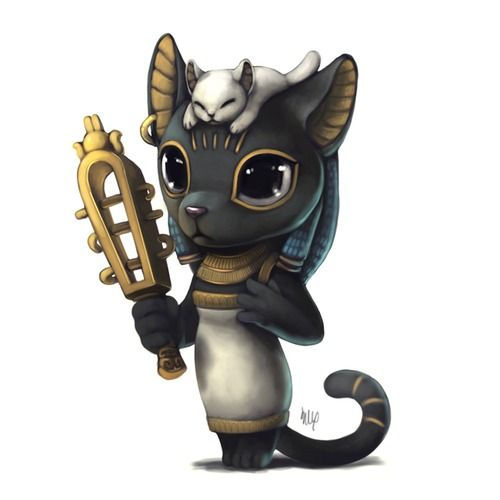 A cute depiction of the Egyptian of the Egyptian cat goddess Bastet. #pagangoddess