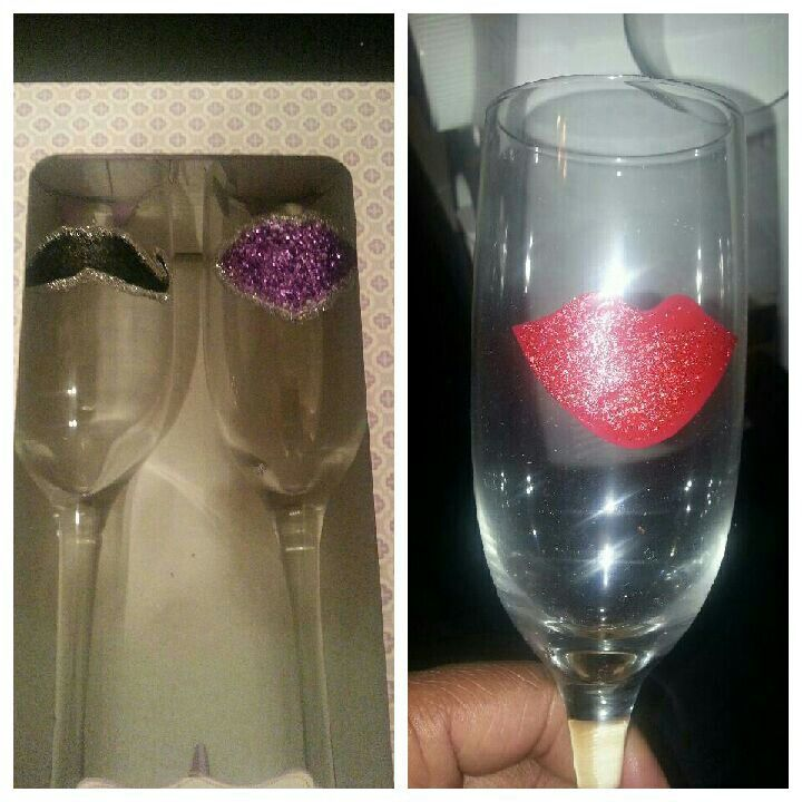 Brought champagne glasses and decorated them in my wedding colors