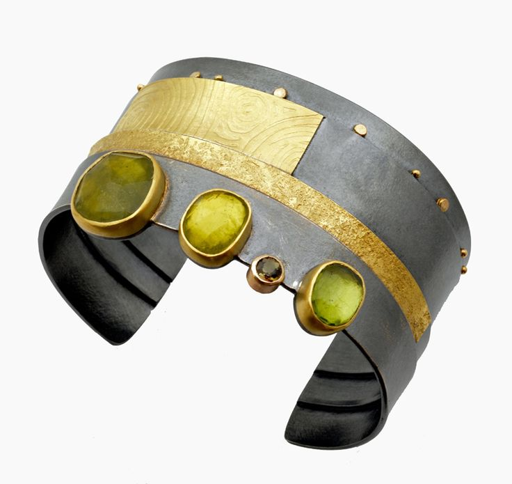 Cuff Bracelet with moss green stones by Sydney Lynch | http://sydneylynch.com/moss-green-strata-cuff/
