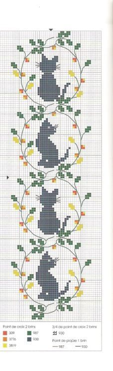 Sitting cat silhouettes, framed by twining vines with fall leaves, a repeating pattern/motif/design. Cross stitch pattern.