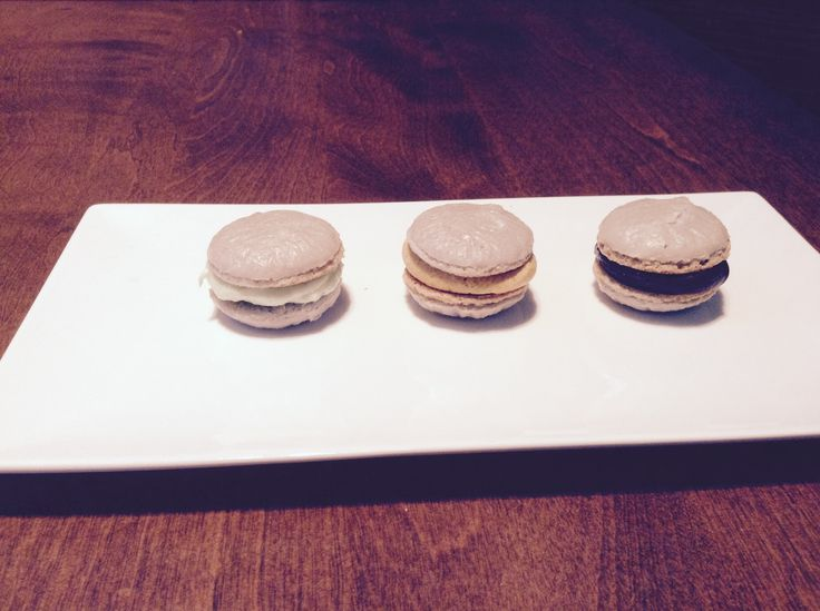Maccarons with key lime cheesecake , salted caramel and chocolate ganache fillings