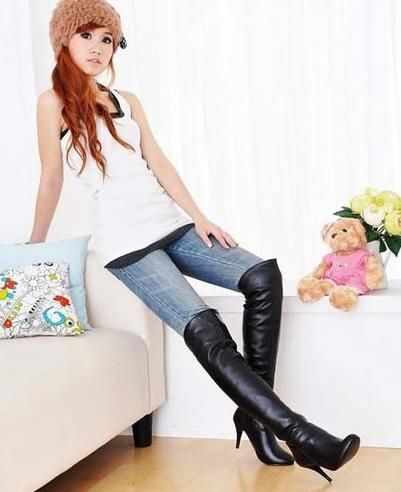 Thigh high boot Asian