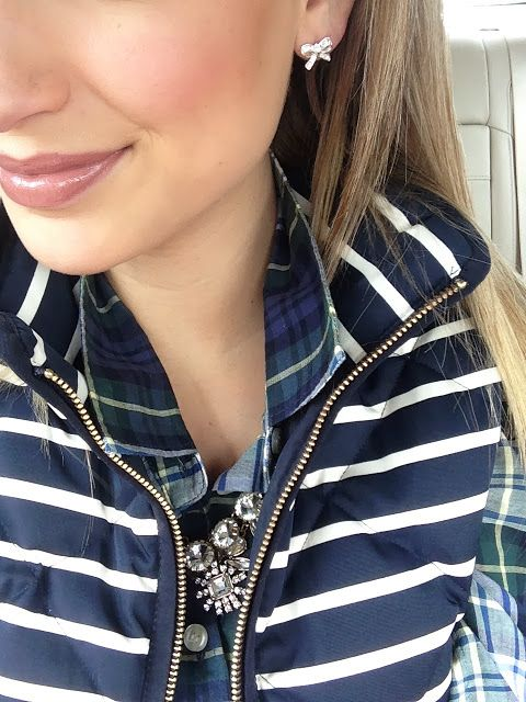 Bow earrings, J. Crew Venus Fly Trap crystal necklace, flannel, quilted stripped J. Crew vest