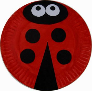Lady bug made from paper plate, red paint, black construction paper and optional googley eyes.  Great for young children.