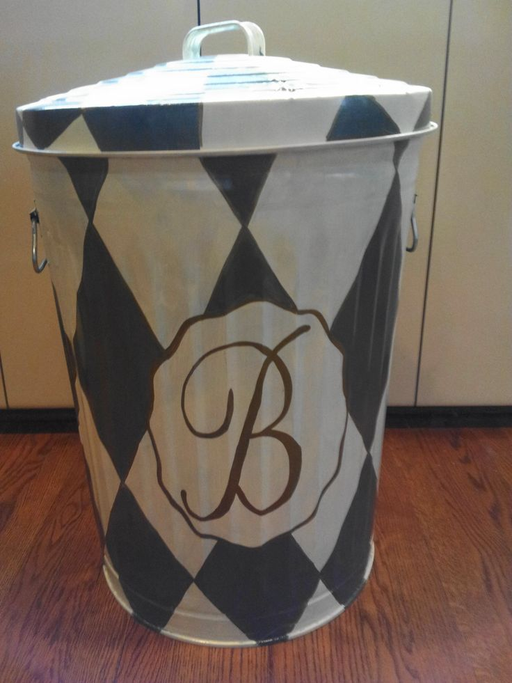 1000 Ideas About Painted Trash Cans On Pinterest Throw