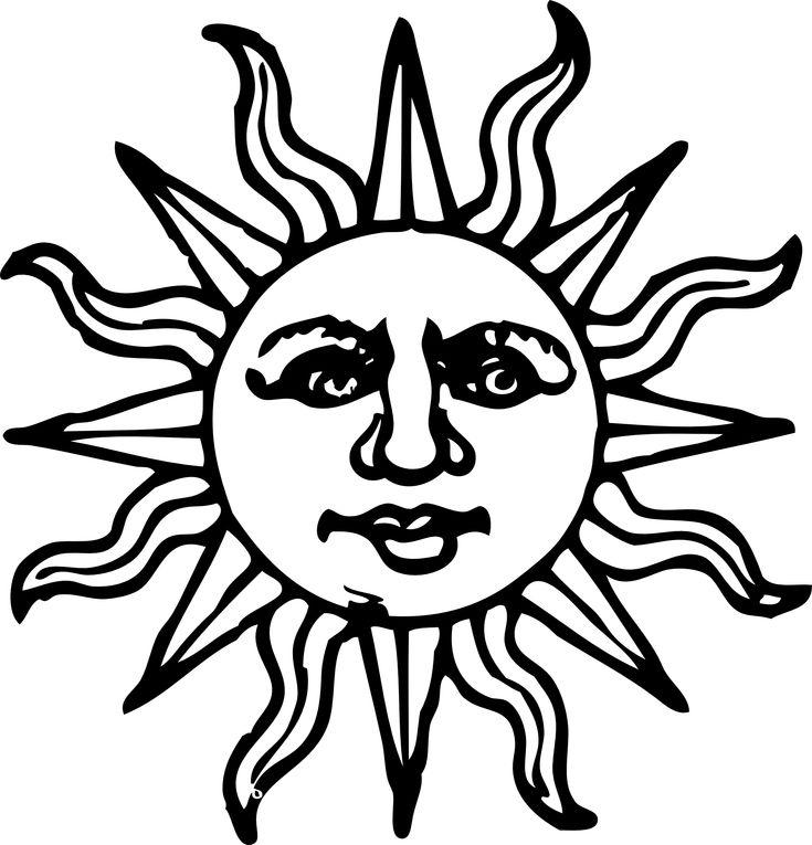 sun woodcut black white line art coloring book