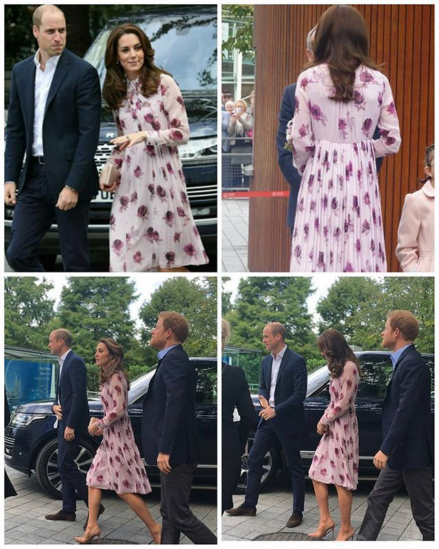 The Duke and Duchess of Cambridge and Prince Harry arrive at London's County Hall to mark #WMHD16 #HeadsTogether. Kate's dress is by Kate Spade (10 October 2016)