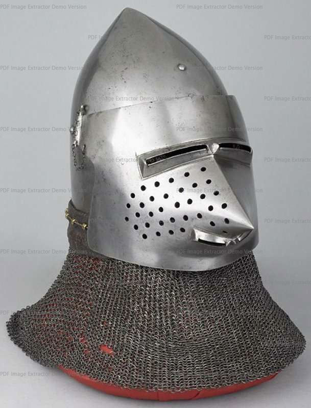 Bascinet with Aventail, Wallace Collection, London 1360-1380 ref_arm_1594_006 Composite helmet, as it can be seen that originally the skull had a center hinged visor. The aventail also is a mix of various patches of mail put together in the early XX century, as are the vervelles as well.
