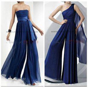 Navy Blue Chiffon Bridesmaid Dress Rompers Jumpsuit Maid Of Honor Jumpsuit Rompers For Junior Girls One Shoulder /Straplesswide Pants Women Jr Bridesmaid Dresses Light Blue Bridesmaid Dresses From Graceful_ladies, $95.5| Dhgate.Com