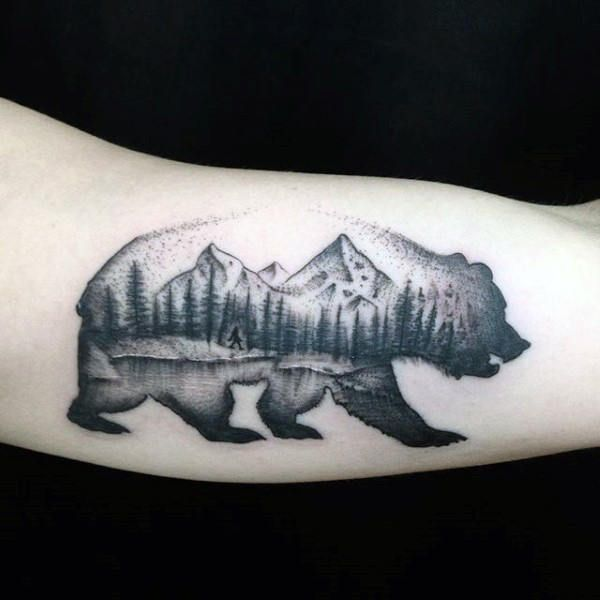 Mens california bear nature woods landscape arm tattoos for Best tattoo artists in northern california