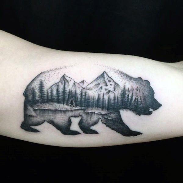 Mens California Bear Nature Woods Landscape Arm Tattoos