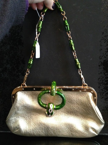 AUTH Gucci Limited Edition Gold Leather Tom Ford Green Snake Clasp Shoulder Bag