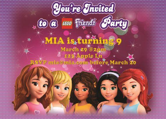 Lego Friends Inspired Customizable Birthday Invitations Instant