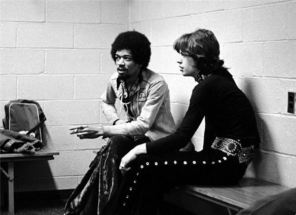 Jimi Hendrix et Mick Jagger, New York, en 1969
