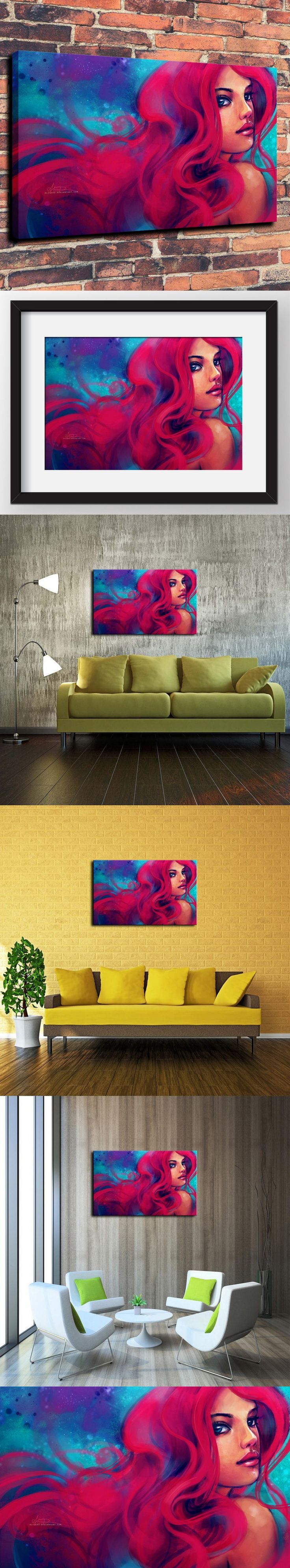 Canvas Prints Wall Art Decorative Painting Western Home Decor Which The Little Mermaid Ariel Girl Alicexz Art( No Framed ) $30