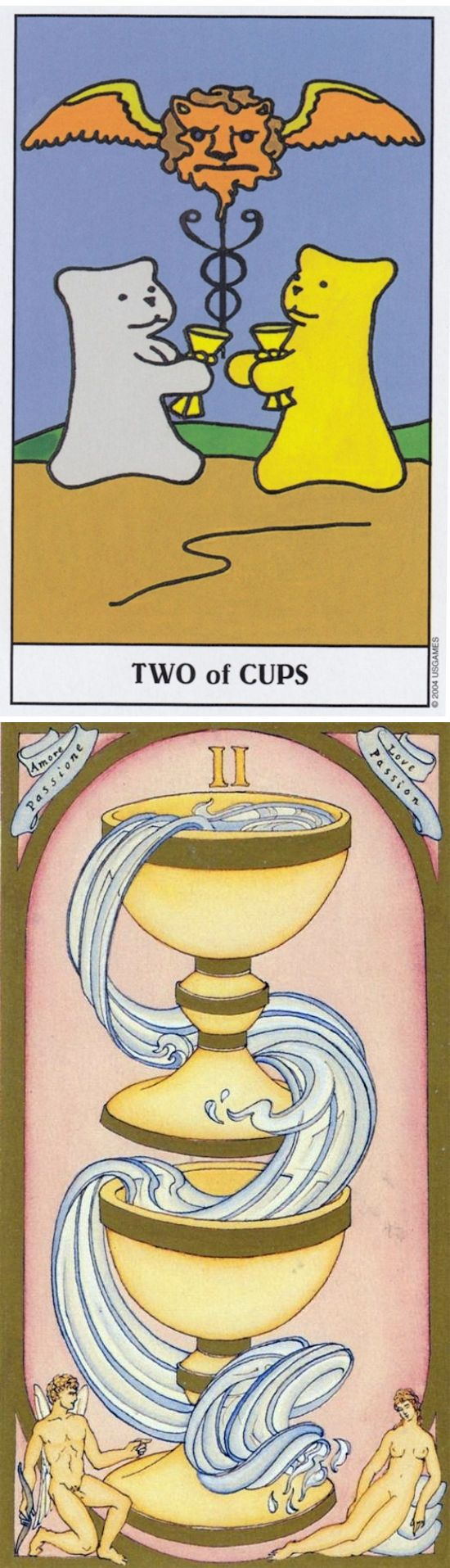 Two of Cups: partnership and imbalance (reverse). Gummy Tarot deck and Renaissance Tarot deck: taro online free, tarotthoth vs tarot cards prediction. The best ritual symbols and fortune telling. #tarotmeaning #halloween2017 #tarotchart #trickortreat