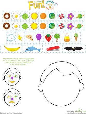 Worksheets: Silly Shapes: Make a Face!