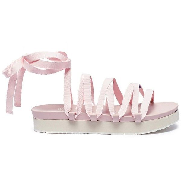 Pedro García x Temperley London 'Lara' lace-up ribbon platform sandals (11.265.695 VND) ❤ liked on Polyvore featuring shoes, sandals, pink, platform lace up shoes, laced shoes, ribbon sandals, pink platform sandals and ribbon shoes
