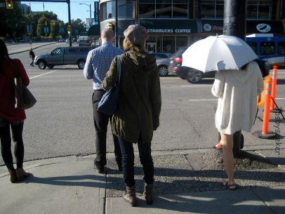 Hot day use an umbrella.