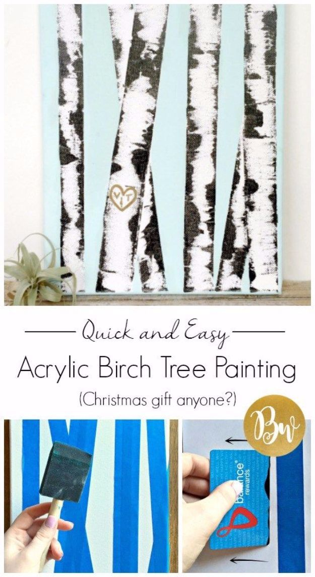 DIY Canvas Painting Ideas - Acrylic Birch Tree Canvas Painting DIY - Cool and Easy Wall Art Ideas You Can Make On A Budget - Creative Arts and Crafts Ideas for Adults and Teens - Awesome Art for Living Room, Bedroom, Dorm and Apartment Decorating http://diyjoy.com/diy-canvas-painting