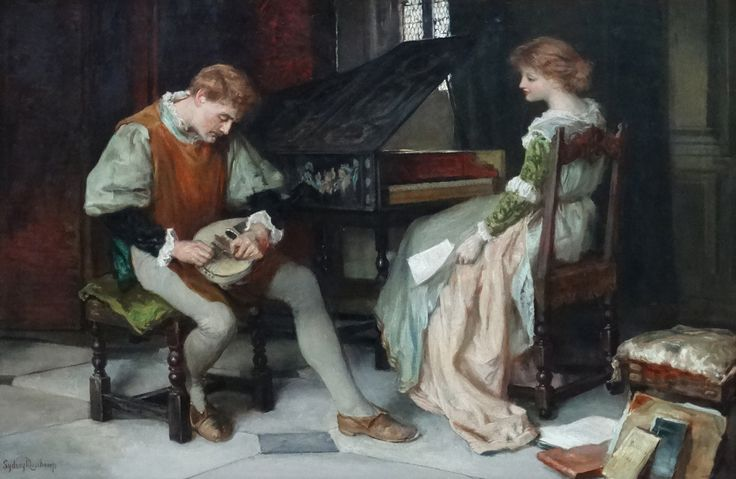 """Lot 164: Francis Sydney #Muschamp ( 1851-1929), Oil on canvas, #Medieval #Musicians, a girl at a #Harpsichord and a man with #lute, Signed lower left and labelled under, 19 1/2 x 30"""""""