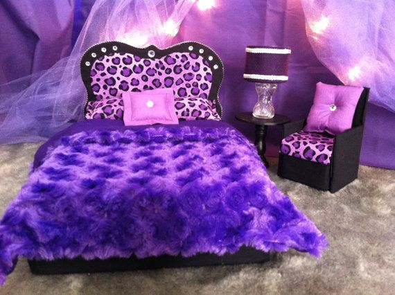 Barbie Furniture / Monster High Furniture - Purple Cheetah Princess Bedroom -  Bed & Accent Chair