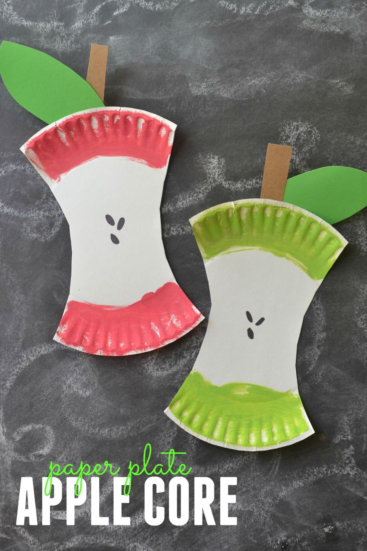 Kids Craft Project Paper Plate Apple Core