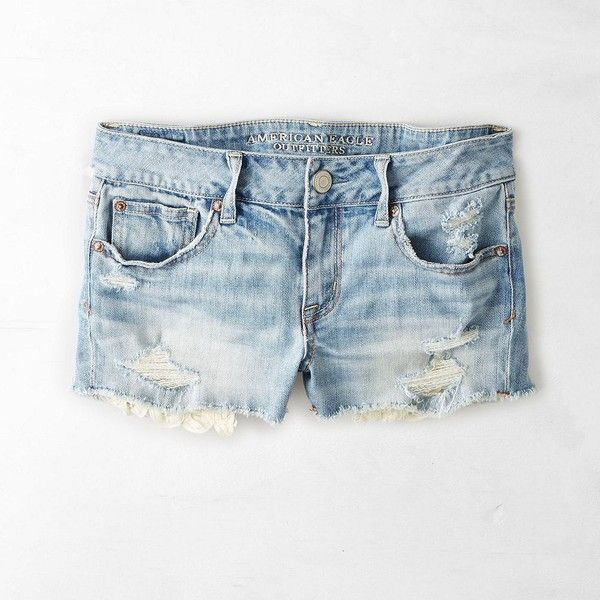 American Eagle Destroyed Lace Hem Shorts ($45) ❤ liked on Polyvore featuring shorts, bright medium indigo, american eagle outfitters, distressed shorts, american eagle outfitters shorts, frayed shorts and fitted shorts