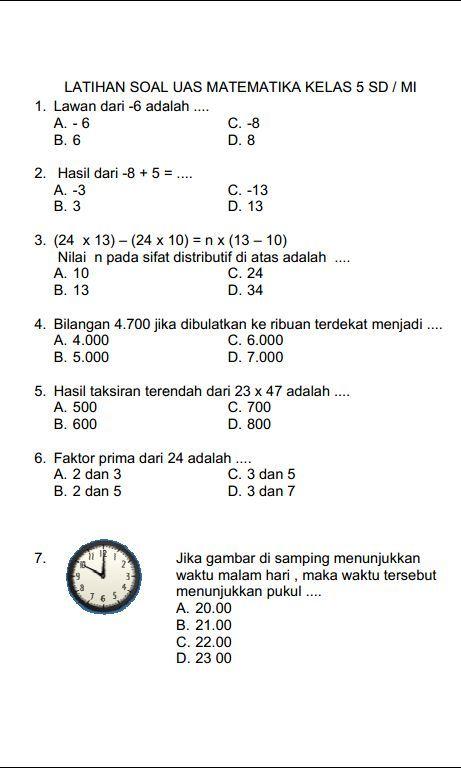 Soal Uts Matematika Kelas 5 Semester 1 Dan Kunci Jawabannya : matematika, kelas, semester, kunci, jawabannya