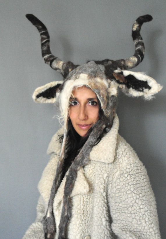 Capricorn Goat horned Animal beast headdress costume by KarenRao