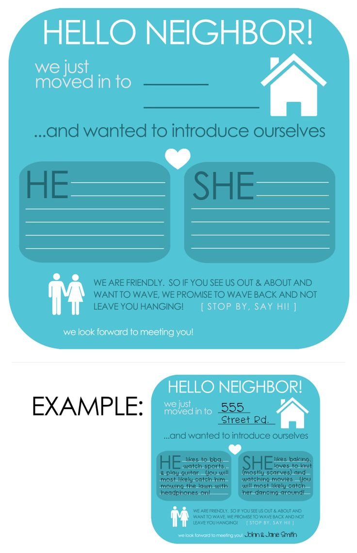 need to meet your new neighbors?  Fill it out & Print it out and attach it to a little gift (like a dollar tree candle)  #meet #neighbor #new #print #gift
