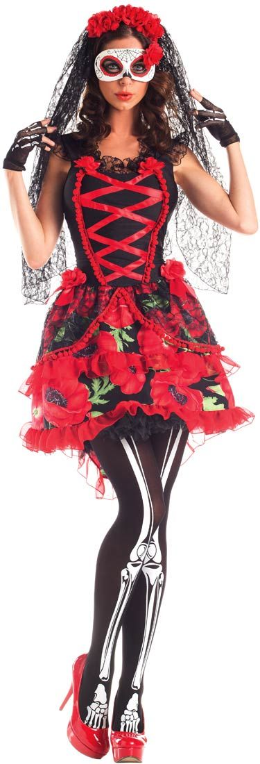 Womens Deluxe Day of the Dead Senorita Costume | Costume Craze