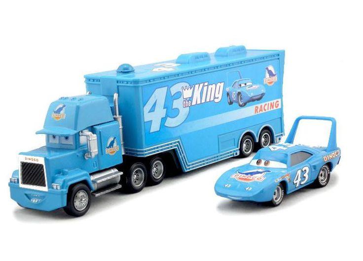 2pcs/set Cars Pixar #43 the king dinoco & mack Hauler Truck Diecast Toys Vehicles for Kids Children Kids Lightning McQueen