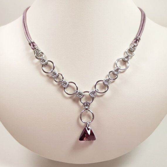 Half Byzantine and Leather Chain Mail Necklace with Swarovski Crystal Lilac Shadow Triangle Pendant, Chainmaille Jewelry