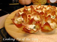 Baked Crab Rangoon  Won ton wrappers  1 pkg. (8 oz.) Philadelphia Cream Cheese  ¼ cup thinly sliced green onions  ¼ cup finely chopped imitation crab meat or fresh or canned crab meat  Spray cooking oil    Preheat the oven to 350.    Spray cooking oil lightly a regular size muffin tin(s).    Place one wonton wrapper in each muffin cup.    Combine cream cheese, green onions and crab.    Drop a rounded measuring teaspoon of crab mixture into each won ton wrapper.    Bake for about 11-13…