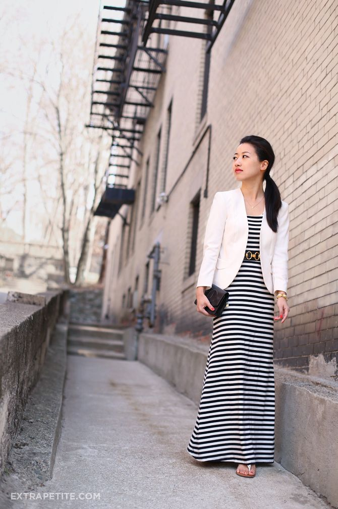 $20 striped maxi dress at Marshalls! I wore this last weekend with a white blaze