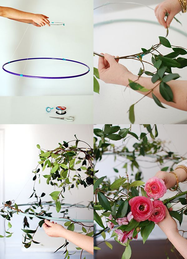 Step-by-step: How to wrap flowers and vines around your wire circle. Photo: Lisa Tilse for We Are Scout