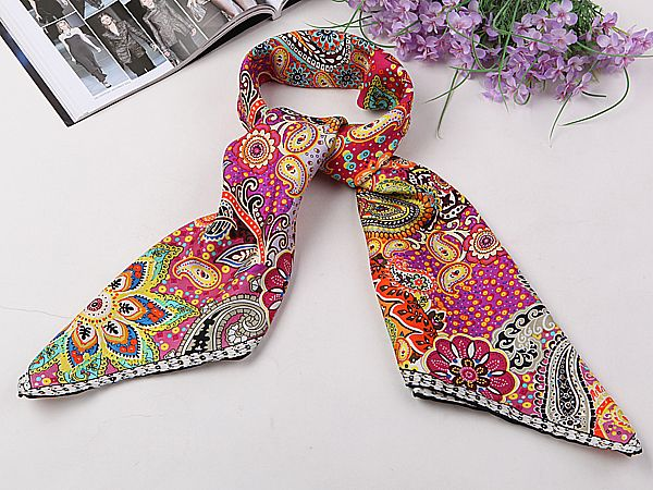 14 Momme Large Square Silk Twill Scarf with Hand Rolled Hem 90x90cm XWC146