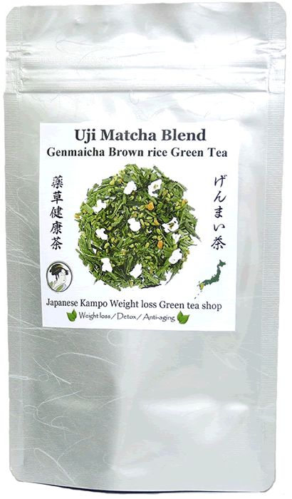 Uji Matcha Blend Genmaicha Brown rice Japanese green tea - Weight loss Diet ----- From Kyushu Island, Japan We have more Uji Matcha in our blend tea than any other brands. Matcha makes your green tea more Mild with Rich flavor!