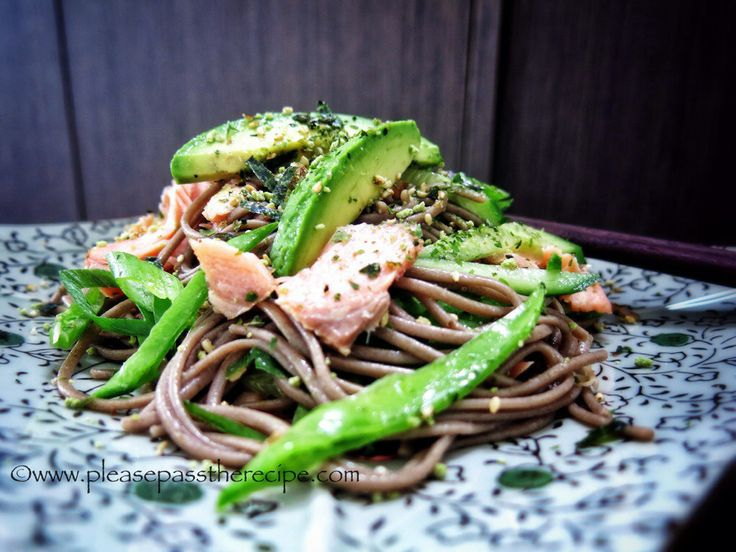 Soba Noodle salad with hot smoked salmon